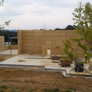 Allchin Emerald rammed earth work in progress