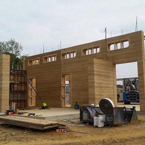 Allchin Emerald rammed earth house in progress