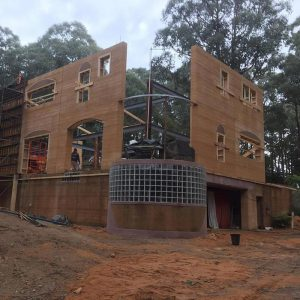 Warburton rammed earth building in progress